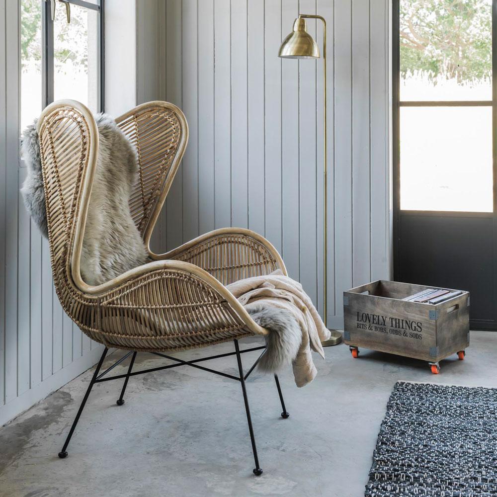 Rattan Wing Chair Wicker Basket Set Midas Side Table